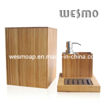 Compact Bamboo Bath Set (WBB0301A with waste basket)