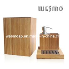 Conjunto de banho de bambu compacto (WBB0301A com cesto de lixo)