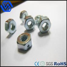 Hochwertiger Hexagon-Nuss-Kohlenstoffstahl blau-weißer Zink-Überzug-Nuss