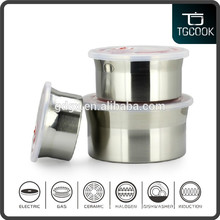 6 pcs Stainless Steel Sealed Container and Fresh Bowl with Plastic Lid