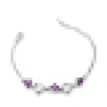 Pulsera de cristal púrpura en forma de corazón de moda de plata de ley 925 de alta calidad de las mujeres