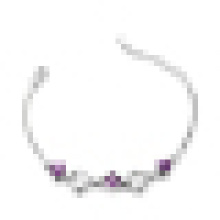 Women′s 925 Sterling Silver Fashion High Grade Heart Shaped Purple Crystal Bracelet