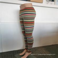 Legging chaud intérieur en polyester brossé à rayures épaissies