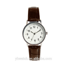 Hot sale design genuine leather simple watch manufacturer with stainless steel back