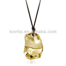 Высокое качество большой бриллиант кулон роскошный желтый кристалл кулон
