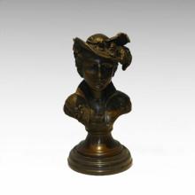 Bustos Brass Statue Signora Decoração Bronze Escultura Tpy-809