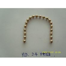 Chaîne en métal argenté / or de haute qualité et chaîne de sac à main en gros avec une chaîne de boules en métal de taille et couleur personnalisée