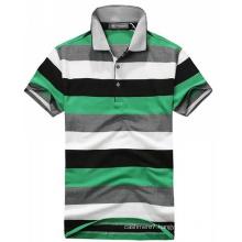 2017 Wholesale Men′s Fashion Yarn Dyed Stripe Pique Polo Shirt
