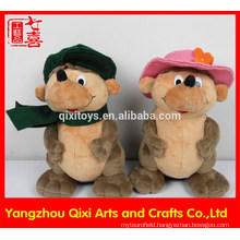 Cute plush mouse animal shape money box with key