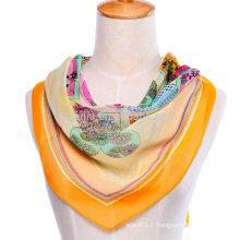 Écharpe en mousseline de soie en soie à motifs floraux nouvelle mode