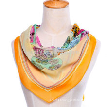 New Fashion floral print polyester square silk chiffon scarf