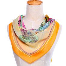 Lenço de seda chiffon de seda quadrado de poliéster de impressão floral nova