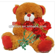 Mother's Day Gifts plush stuffed sitting teddy bear with red carnation