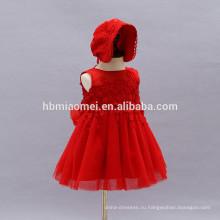 2017 новый стиль летнее детское платье Западной день рождения крещение платье младенческой платье девушки с шляпой