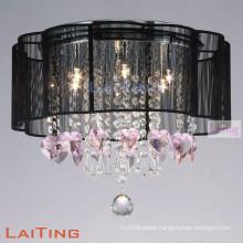 Black fancy light for home hign ceiling lighting crystal chandelier
