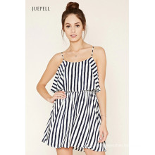 2016 Soem Art und Weise Striped Volant Kleid