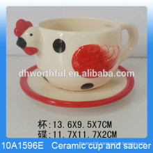 Unique chicken shaped ceramic cup with saucer set for custom