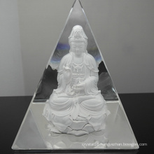 Crystal Glass Pyramid Paperweight for Home Decoration