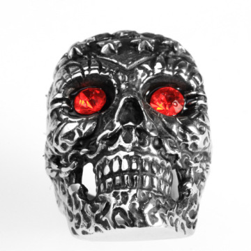 Gravado Padrão Vintage Mens Antique Skull Ring