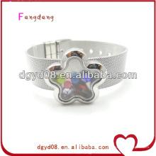 Fleur shaope flottant extensible bracelets magnétiques bracelet / médaillon verre bracelet en gros