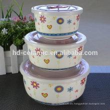 Porcelana fresca sello cuenco microondas juego de tazón, tazón de cerámica fresco conjunto