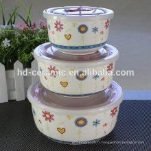 Porcelaine Fresh seal bowl Ensemble de cuvette à micro-ondes, cuvette en céramique