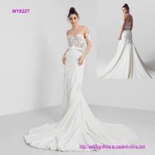 Embroidered Wedding Dress with Strapless Neckline