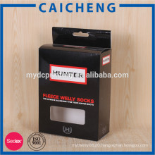 Matte black soft touch finish paper box packaging for men's pants
