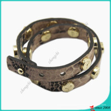 Stud Fashion Girl Brown Leather Bracelet (LB)