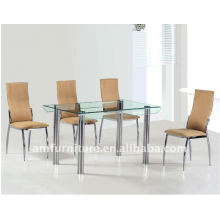 tempered glass and chrome legs dining table
