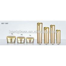 cubierta plateada botella de acrílico de oro y tarro de acrílico