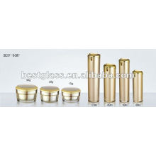 garrafa de acrílico de ouro de tampa chapeado e jarra acrílica