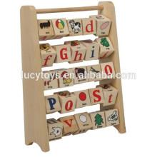 Porte-outils en bois éducatif en alphabet
