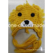 Handgestrickte Hüte, häkeln Lion Hat, Tier Earflap Winter Hut