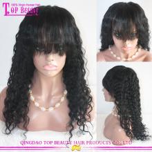 Vente chaude 180 % densité couleur #1 vierge brésilien crépus bouclés perruque de cheveux humains pour femme noire