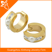 Stainless Steel Gold Plated new beautiful elegant woman Jewelry Earrings Crystal And Pearl Jewelry
