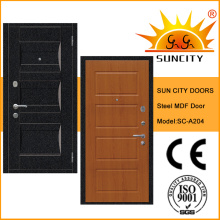 Portes en acier décoratives à panneaux MDF à l'intérieur (SC-A204)