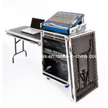 16U Workstation Flightcase Rack mit Beistelltischen und 10u Mixer Slant