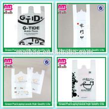 Bienvenido marca LDPE HDPE claro plástico bolsa de la camiseta de transparencia para el paquete de supermercado