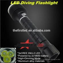 JEXREE High Power Hunting 3XCREE XM-L2 Tactical LED Lumière de plongée Lampe de poche