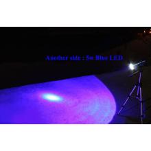 Blanc et bleu LED lampe de pêche rechargeable lampe torche trépied double source lumineuse