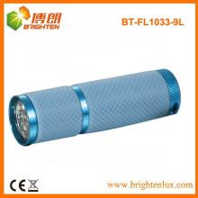 Venta de fábrica 9 led de aluminio a granel llevó linternas baratos linterna con funda de silicona