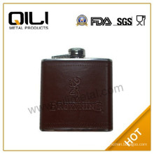 18/8 FDA 6oz Stainless Steel Brown Leather Hip Flask