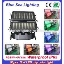 96pcs 18w 6 in 1 rgbwauv ip65 outdoor waterproof lighting fixture