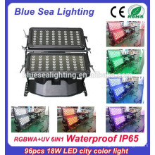 96pcs 18w 6 em 1 dispositivo elétrico de iluminação impermeável ao ar livre rgbwauv ip65