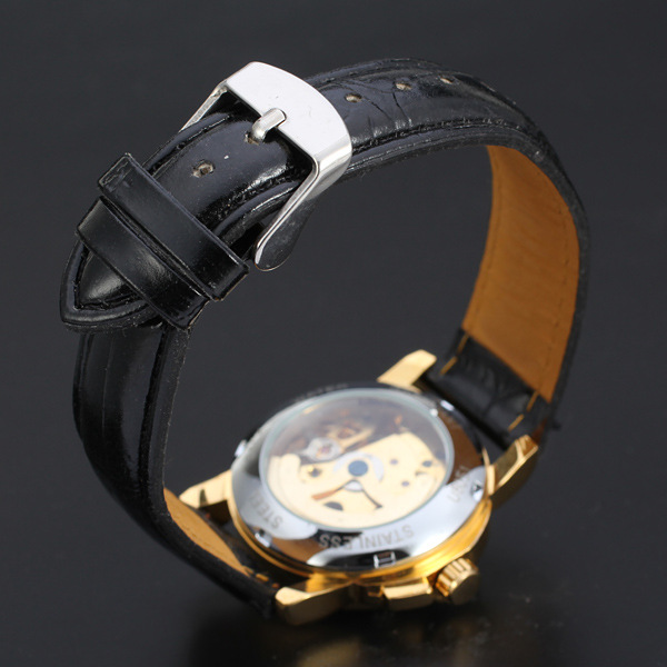 gradient color dial with visible mechanism design automatic watch