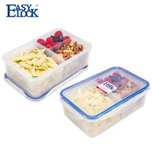 Envase de comida plástica de 3 compartimientos Prep Food Microondas con tapa