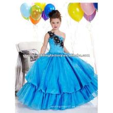 El nuevo hombro del envío libre appliqued la muchacha de flor real rebordeada del vestido de bola viste CWFaf4433
