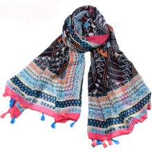 Hot selling bohemia style summer tassels scarf rhombus pattern digital printing scarf 100% cotton voile scarf