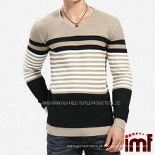 Sunshine Mens malha listrada correspondência Sweater Pullover Cor
